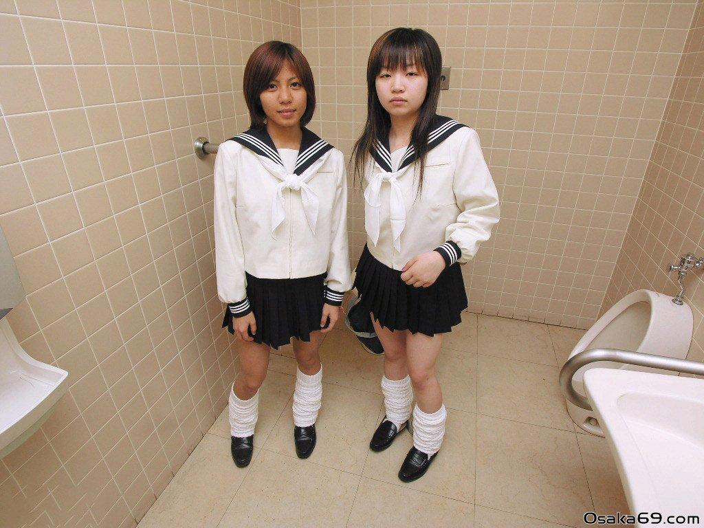 Osaka69 Cute Japanese Schoolgirl Mirai and Shiina Naked in